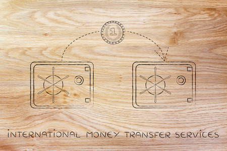 international money: international money transfer services: coin flying from one safe to another