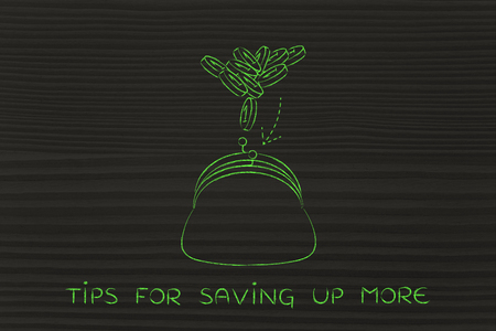 saving tips: tips for saving up more: coins flying into a purse