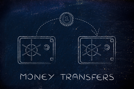 money transfer: money transfer: coin flying from one safe to another Stock Photo