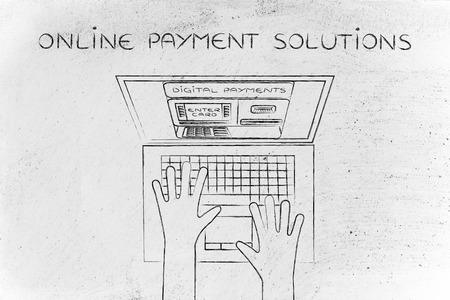 automatic teller machine: online payment solutions: automatic teller machine inside laptop screen with hands typing on keyboard