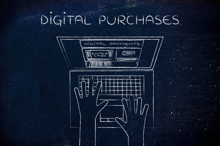 automatic teller machine: digital purchase: automatic teller machine inside laptop screen with hands typing on keyboard