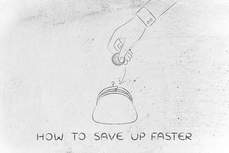 faster: how to save up faster: hand dropping coin into purse, concept of earning or saving money Stock Photo
