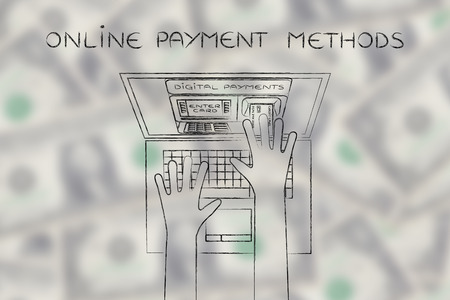 automatic teller: online payment methods; automatic teller machine inside laptop screen with hands inserting card to pay