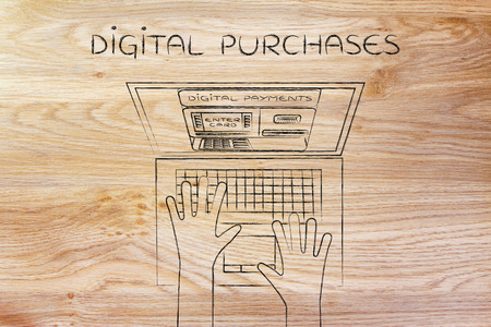 automatic teller: digital purchase: automatic teller machine inside laptop screen with hands typing on keyboard