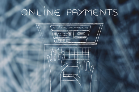 automatic teller: online payments: automatic teller machine inside laptop screen with hands typing on keyboard