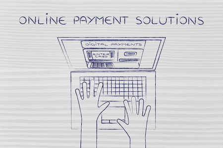 automatic teller: online payment solutions: automatic teller machine inside laptop screen with hands typing on keyboard