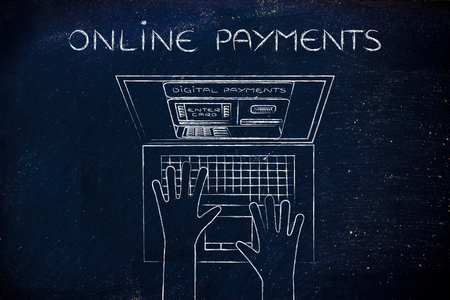 automatic teller machine: online payments: automatic teller machine inside laptop screen with hands typing on keyboard