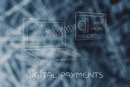 popup: digital payments: laptop with insert coin pop-up message coming out of screen with a spring