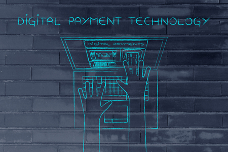 automatic teller: digital payment technology: automatic teller machine inside laptop screen with hands inserting card to pay Stock Photo