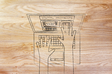 automatic teller: automatic teller machine inside laptop screen with hands inserting card to pay Stock Photo