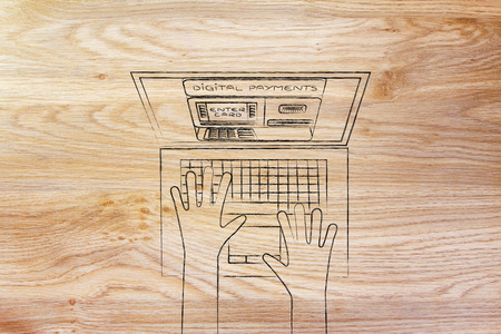 automatic teller: automatic teller machine inside laptop screen with hands typing on keyboard