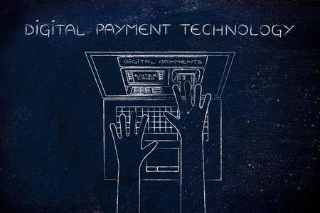 automatic teller machine: digital payment technology: automatic teller machine inside laptop screen with hands inserting card to pay Stock Photo
