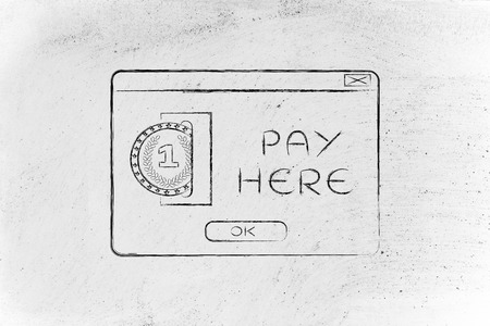 popup: insert coin pop-up message with text pay here Stock Photo