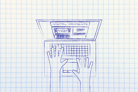 automatic teller machine: automatic teller machine inside laptop screen with hands typing on keyboard