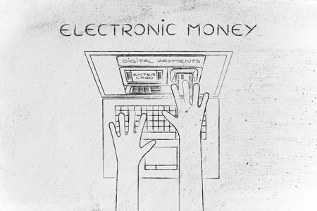 automatic teller: eletronic money: automatic teller machine inside laptop screen with hands inserting card to pay