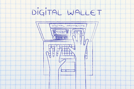 automatic teller: digital money: automatic teller machine inside laptop screen with hands inserting card to pay