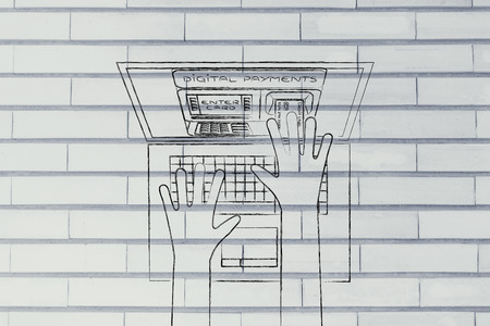 automatic teller machine: automatic teller machine inside laptop screen with hands inserting card to pay Stock Photo