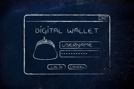 coin purse: digital wallet pop-up message with coin purse and login