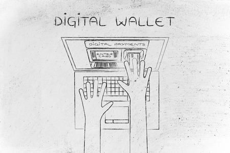 automatic teller machine: digital money: automatic teller machine inside laptop screen with hands inserting card to pay