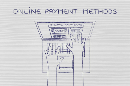 methods: online payment methods; automatic teller machine inside laptop screen with hands inserting card to pay