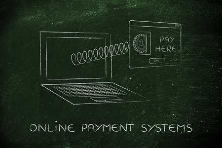 popup: online payment systems: laptop with insert coin pop-up message coming out of screen with a spring