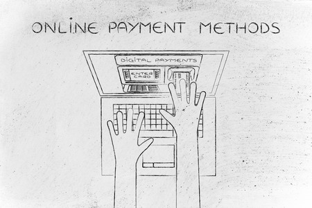 automatic teller machine: online payment methods; automatic teller machine inside laptop screen with hands inserting card to pay