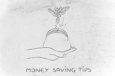 saving tips: money saving tips: hand holding purse with coins dropped into it