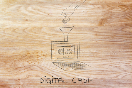 cash in hand: digital cash: hand dropping coin into a laptop with Insert Coin pop-up message through a funnel Stock Photo
