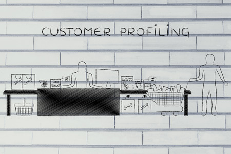 profiling: customer profiling: customer with shopping cart and products standing by a stores cashier