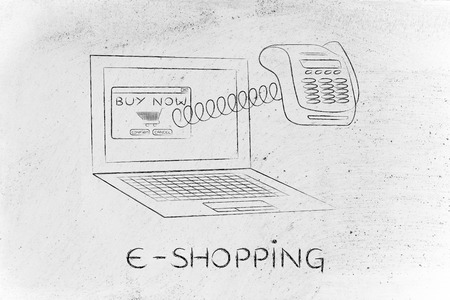 internet terminal: e-shopping: laptop with funny pos terminal coming out of the screen with a spring,  metaphor of online payments Stock Photo