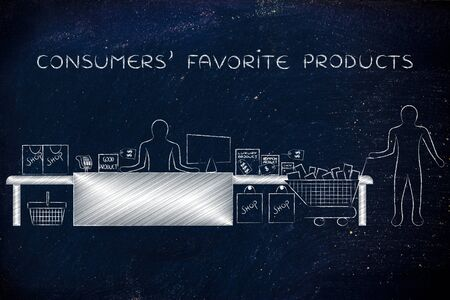 consumers favorite products: customer with shopping cart and products standing by a stores cashier Stock Photo