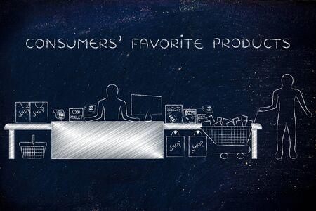 favoriete producten van de consument: de klant met boodschappenwagentje en producten staan door caissière van een winkel Stockfoto