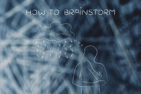 thoughful: how to brainstorm: thoughful man with brainstorming thought bubble with lightning bolt and rain of ideas (lightbulb)