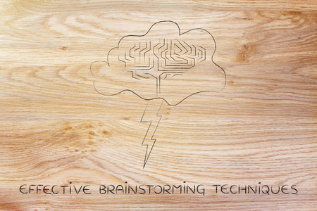 techniques: effective brainstorming techniques: storm cloud with lightning bolt and brain design