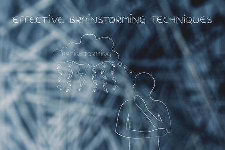thoughful: effective brainstorming techniques: thoughful man with brainstorming thought bubble with lightning bolt and rain of ideas (lightbulb)