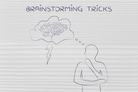thoughful: thoughful man with brainstorming thought bubble with lightning bolt and brain design, concept of brainstorming