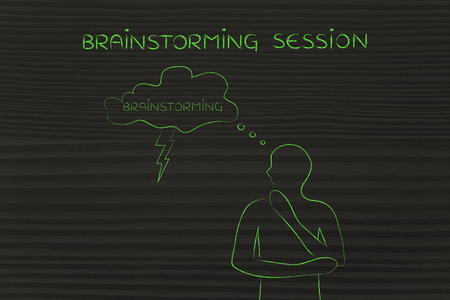 thoughful: brainstorming session: thoughful man with brainstorming thought bubble with lightning bolt