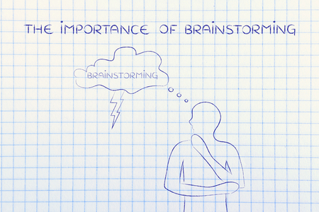 thoughful: the importance of brainstorming: thoughful man with brainstorming thought bubble with lightning bolt