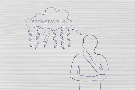 thoughful: thoughful man with brainstorming thought bubble with lightning bolt and rain of ideas (lightbulb)