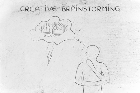 thoughful: creative brainstorming: thoughful man with brainstorming thought bubble with lightning bolt and brain design Stock Photo