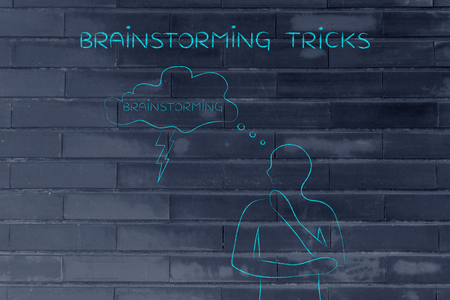 thoughful: brainstorming tricks: thoughful man with brainstorming thought bubble with lightning bolt