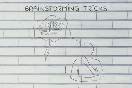 thoughful: brainstorming tricks: thoughful man with brainstorming thought bubble with lightning bolt and brain design