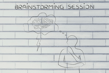 thoughful: brainstorming session: thoughful man with brainstorming thought bubble with lightning bolt and brain design Stock Photo