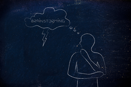thoughful: thoughful man with brainstorming thought bubble with lightning bolt