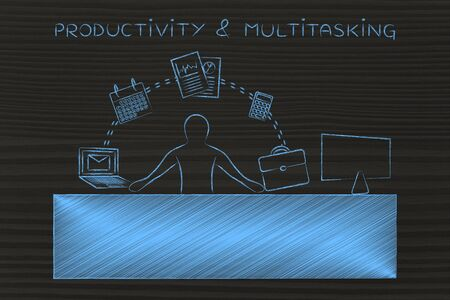 tasks: productivity & multitasking: employee or ceo juggling tasks and business objects at the office