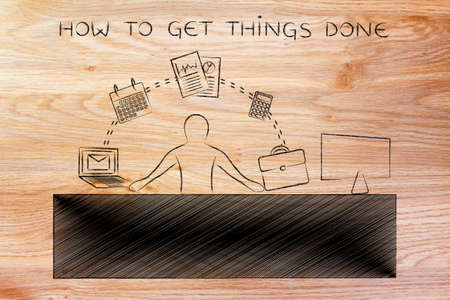 tasks: how to get things done: employee or ceo juggling tasks and business objects at the office