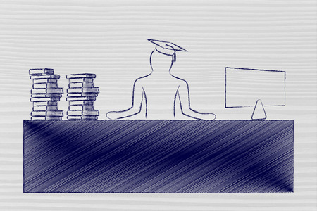 person with graduation hat and pile of book sitting at office desk with computer