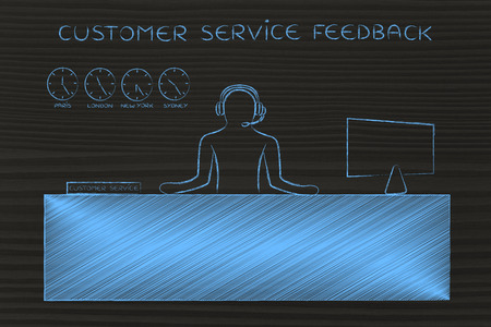 aftersales: customer service feedback: employee with headphones working at his desk Stock Photo