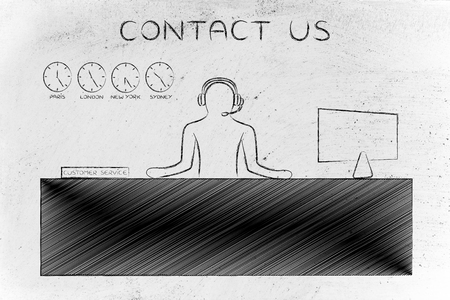 aftersales: contact us: customer service man with headphones working at his desk
