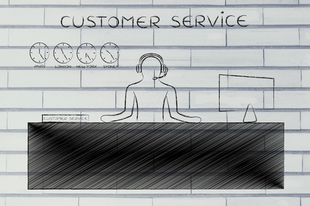 aftersales: customer service:  employee with headphones working at his desk